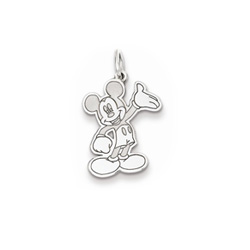 Disney Mickey Mouse Charm / Pendant (Small) – Sterling Silver Rhodium - Add to a bracelet or necklace - BEST SELLER/