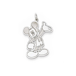 Disney Mickey Mouse Charm / Pendant (Large) – Sterling Silver Rhodium - Add to a bracelet or necklace - BEST SELLER/