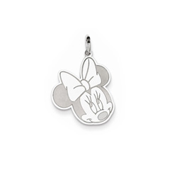 Disney Minnie Mouse Charm / Pendant (Small) – 14K White Gold - Engravable on back - Add to a bracelet or necklace/