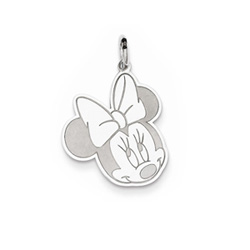 Disney Minnie Mouse Charm / Pendant (Large) – Sterling Silver Rhodium - Engravable on back - Add to a bracelet or necklace/