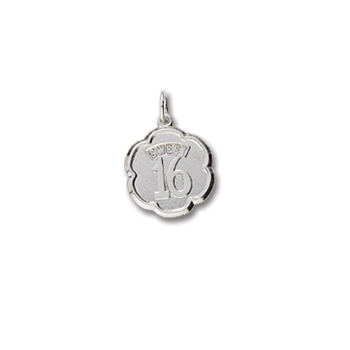 Rembrandt Sterling Silver Sweet 16 Charm – Engravable on back - Add to a bracelet or necklace