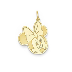 Disney Minnie Mouse Charm / Pendant (Large) – 14K Yellow Gold - Engravable on back - Add to a bracelet or necklace/