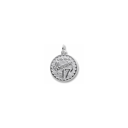 Charming 17 - Birthday Girl - Large Round Sterling Silver Rembrandt Charm – Engravable on back - Add to a bracelet or necklace