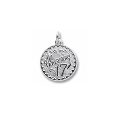 Charming 17 - Birthday Girl - Large Round Sterling Silver Rembrandt Charm – Engravable on back - Add to a bracelet or necklace /