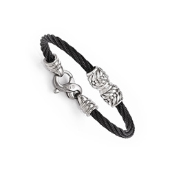 Black Titanium & Sterling Silver Baby / Toddler Boy's Bracelet - Handsome Gift for Little Boys - BEST SELLER/