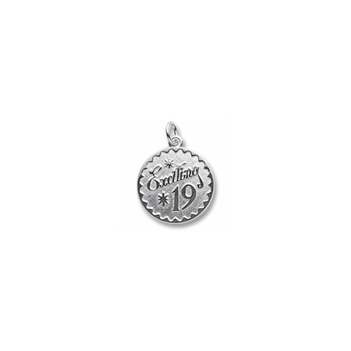Exciting 19 - Birthday Girl - Large Round Sterling Silver Rembrandt Charm – Engravable on back - Add to a bracelet or necklace
