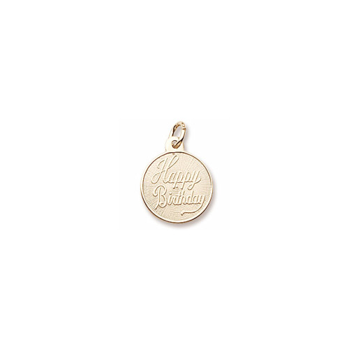 Happy Birthday – Small Round Charm 10K Yellow Gold - Engravable on Back - Add to a bracelet or necklace