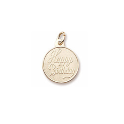 Happy Birthday – Small Round Charm 10K Yellow Gold - Engravable on Back - Add to a bracelet or necklace/