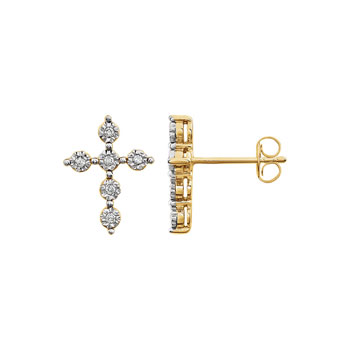 Exquisite Keepsake Diamond Cross Earrings for Girls - Perfect First Communion and Confirmation Gift - 14K Yellow and White Gold - 1/10 TCW Diamond Earrings - Push Back Posts - BEST SELLER