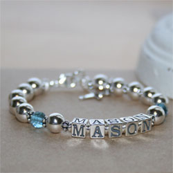 Mason - Boy's sterling silver name baby bracelet - Grow-With-Me® designer baby bracelet - Personalize with birthstones & charms/