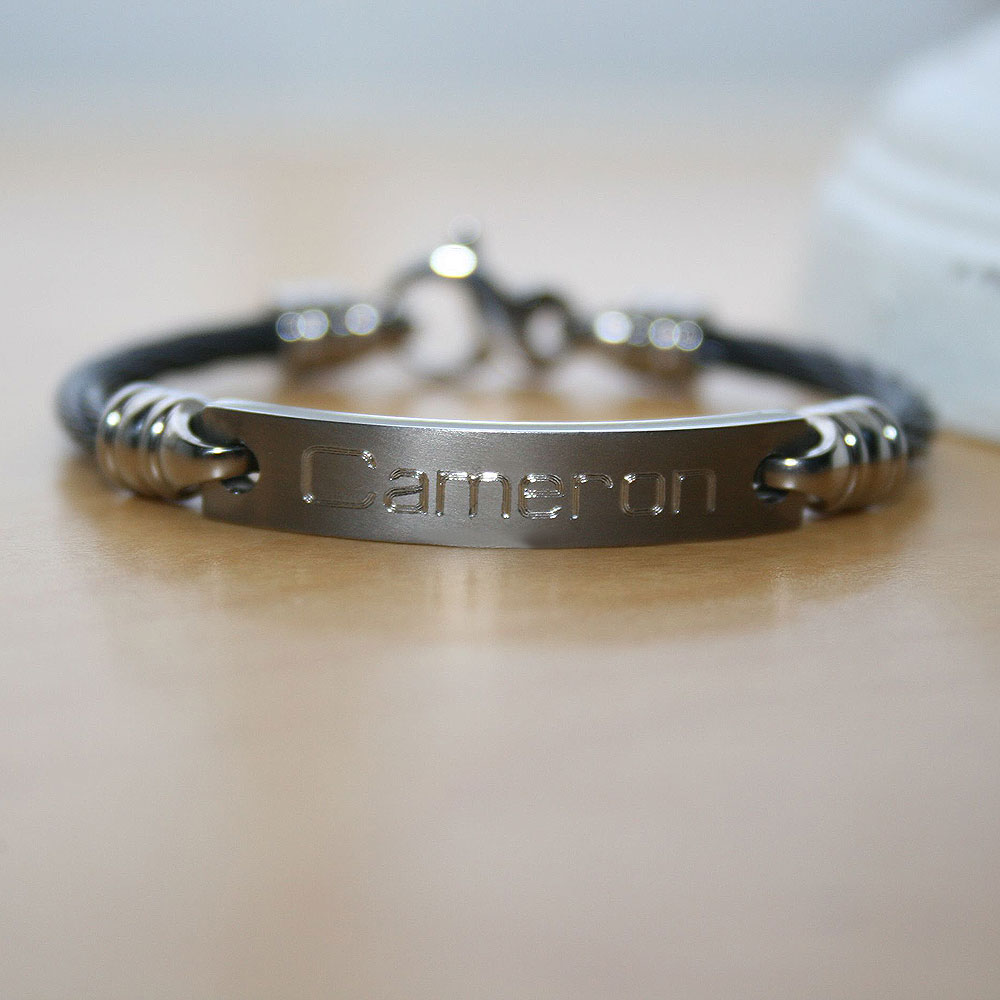 Black Titanium Baby Toddler Personalized Boy S Bracelet Size 4 5 Inch Handsome Gift For