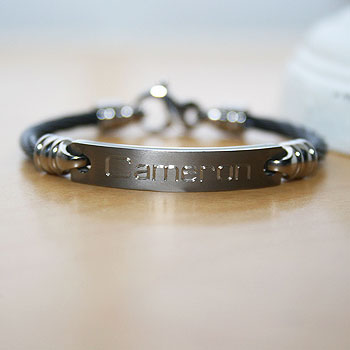 Black Titanium Baby / Toddler Personalized Boy's Bracelet - Size 4.5 inch - Handsome Gift for Baby Boys - BEST SELLER
