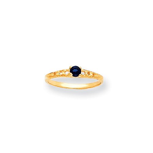 September Birthstone - Genuine Blue Sapphire 3mm Gemstone - 14K Yellow Gold Baby/Toddler Birthstone Ring - Size 3