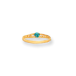 December Birthstone - Genuine Blue Zircon 3mm Gemstone - 14K Yellow Gold Baby/Toddler Birthstone Ring - Size 3/