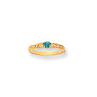 December Birthstone - Genuine Blue Zircon 3mm Gemstone - 14K Yellow Gold Baby/Toddler Birthstone Ring - Size 3
