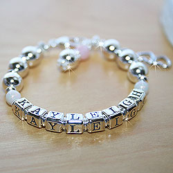 Kayleigh Ann™ – Grow-With-Me® designer baby bracelet – Sterling silver baby name bracelet – Personalize with birthstones & charms/