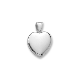 Handmade Premium Heirloom Lockets to Love - 14K White Gold 20mm Heart Photo Locket - Engravable on front and back - Includes a 18
