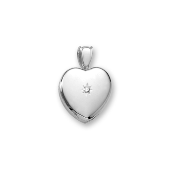 "Handmade Premium Heirloom Lockets to Love - 14K White Gold 20mm Heart Photo Locket - .04 ct. tw. Center Diamond - Engravable on back - Includes a 18"" wheat chain"