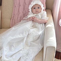 Olivia Harper - Handmade Heirloom Dupioni Silk Pearl and Sequin Christening Gown with Matching Christening Bonnet Set - Size XS (3 - 6 months)/
