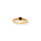 January Birthstone - Genuine Garnet 3mm Gemstone - 14K Yellow Gold Baby/Toddler Birthstone Ring - Size 3