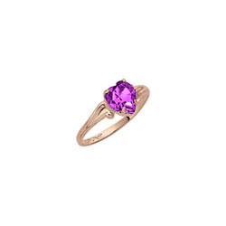 Heart Rings for Girls - 10K Gold - February Birthstone/