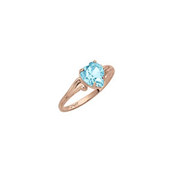 Heart Rings for Girls - 10K Gold - March Birthstone/