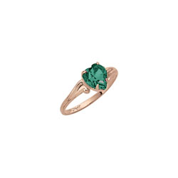 Little Girl's Heart Birthstone Ring - May Birthstone - Synthetic Emerald - 10K Yellow Gold - Size 4½ Child Ring - BEST SELLER/
