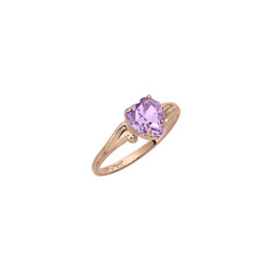 Heart Rings for Girls - 10K Gold - June Birthstone/