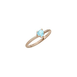 Beautiful Girl's Heart Birthstone Ring - March Birthstone - Synthetic Aquamarine - 10K Yellow Gold - Size 3½ Child Ring - BEST SELLER /