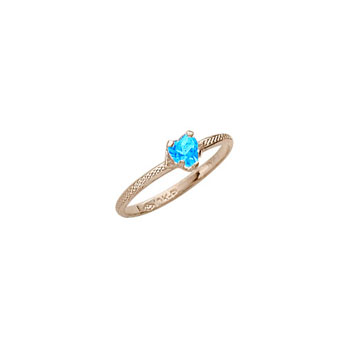 Kid's Heart Ring - 10K Gold - December Birthstone