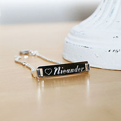 Girl's Jewelry Favorite - Adjustable Girls Personalized Silver Bracelet - Engravable on front and back - Size 6