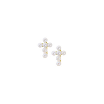 Girls Tiny Pearl Cross Earrings - Freshwater Cultured Pearl - 14K Yellow Gold - Screw Back Earrings for Baby Girls (2mm pearls) - BEST SELLER