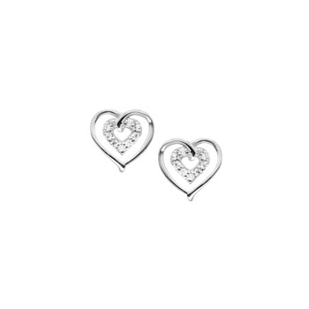 Girls Adorable Cubic Zirconia (CZ) Heart Earrings - Sterling Silver Rhodium - Screw Back CZ Heart Earrings for Baby, Toddler, and Child - Safety threaded screw back post - BEST SELLER