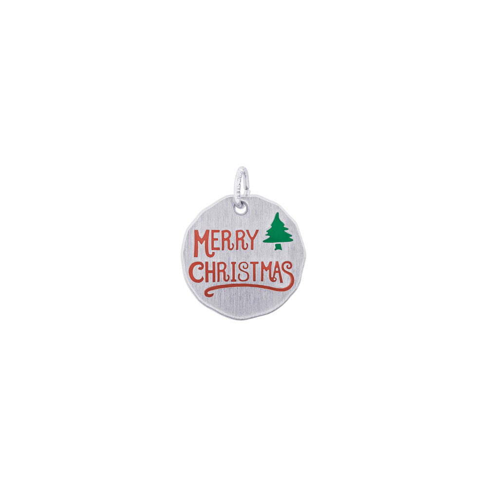 Engravable Rembrandt Charms Merry Xmas Tree