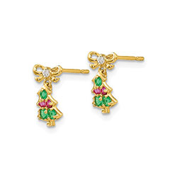 Children's Christmas Tree Earrings/