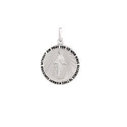 Miraculous Medal Pendant Necklace - Medium 18mm Round Pendant - Sterling Silver Rhodium pendant - 20-inch stainless steel chain included - Engravable - BEST SELLER/