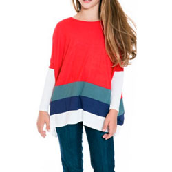 Girl's Adorable Red Multi-Colored Tunic - Super-Soft Fabric - Customer Favorite/