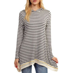 Super-Soft Heather Grey and Black Striped Long Sleeve Hooded Top for Teens and Women - Customer Favorite/