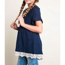 Girl's Super-Cute Navy Blue Baby Doll Light-Weight Sweater Top with Lace Trim - Customer Favorite/