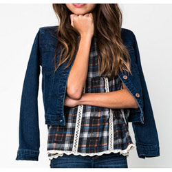 Girl's Spring / Summer Plaid Navy Mix Baby Doll Top with Lace Trim - Customer Favorite/