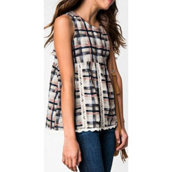 Girl's Spring / Summer Plaid Beige Mix Baby Doll Top with Lace Trim - Customer Favorite/