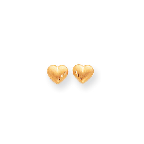 Bella's Heart - Tiny 14K Yellow Gold Satin Diamond-Cut Heart Girls Earrings - Push-Back Posts