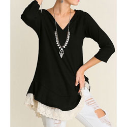 Super-Soft Black Hooded Tunic with Lace for Teens and Women - Customer Favorite/