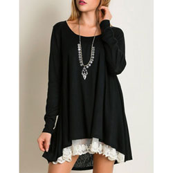 Super-Soft Black Tunic with Lace for Teens and Women - Customer Favorite/