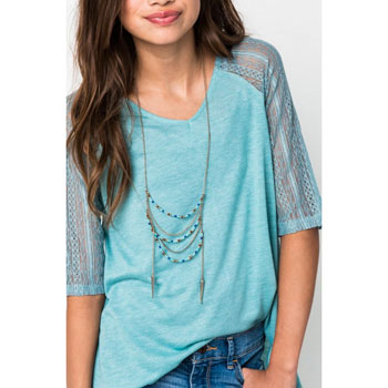 Girl's Spring / Summer Teal Green Top with Lace Sleeves/