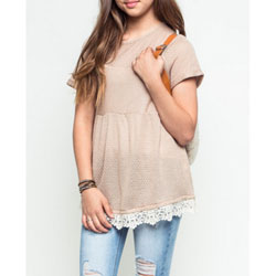 Girl's Super-Cute Light Mocha Baby Doll Light-Weight Sweater Top with Lace Trim - Customer Favorite/