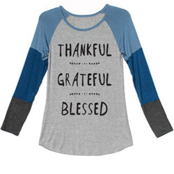 Super-Soft Blue Multi Thankful Grateful Blessed Baseball Jersey for Teens and Women - Customer Favorite/