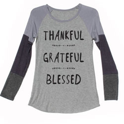 Super-Soft Grey Multi Thankful Grateful Blessed Baseball Jersey for Teens and Women - Customer Favorite/