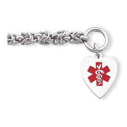 Heart Tag Medical ID Bracelet - Sterling Silver - 6mm Chain Width - Toggle Clasp - Engravable on the front and back - Size 7.75