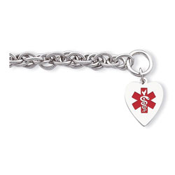 Heart Tag Medical ID Bracelet - Sterling Silver - 8mm Chain Width - Toggle Clasp - Engravable on the front and back - Size 7.75